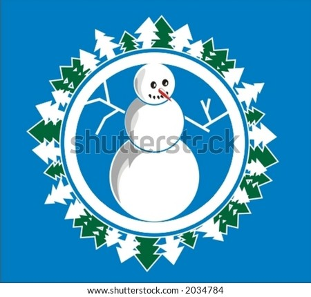 New Year symbol. Snowman - stock vector