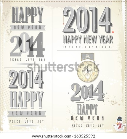 New Year Symbols Postcard Invitation Poster Stock Vector 163525592