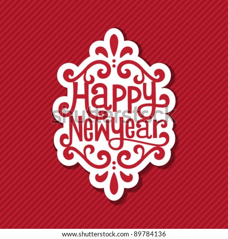 new year tag - stock vector