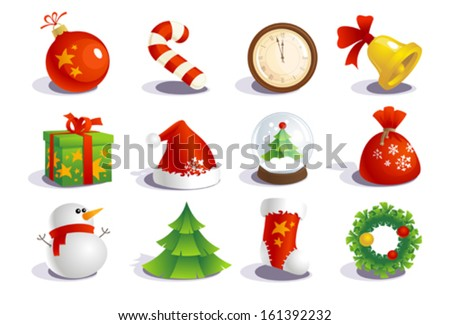 New year traditional symbols collection. - stock vector