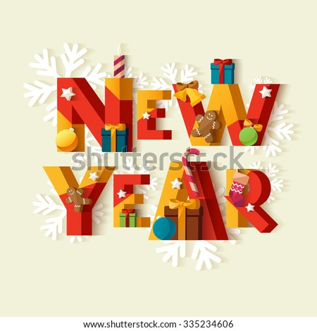 New Year typographic poster. - stock vector