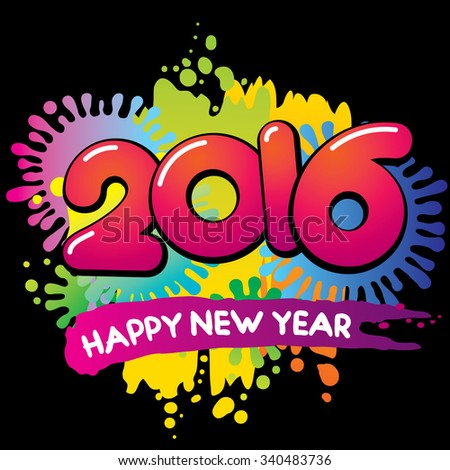 New Year 2016 vector greeting card - stock vector