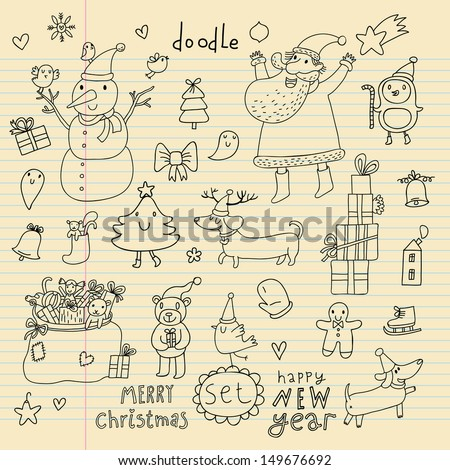 New Year vector set. Cartoon Santa Claus, Snowman, fir tree, gifts, toys, doll, car, bear, dog dachshund, penguin in doodle style. Holiday 2014 Christmas set in childish style - stock vector