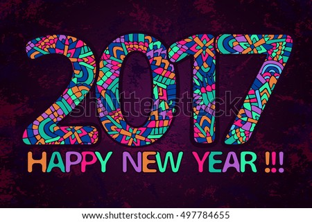 New Year 2017 Wallpaper Happy Poster Banner Abstract