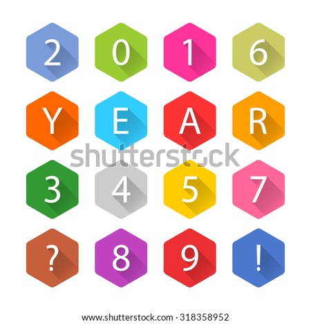 New Year 2016 white title text. Figures 1, 2, 3, 4, 5, 6, 7, 8, 9, 0. Flat hexagon icon blue, brown, cobalt, gray, green, indigo, magenta, orange, pink, purple, red, violet, yellow colors. Vector eps - stock vector