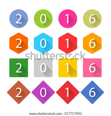 New Year 2016 white title text. Figures 1, 2, 3, 4, 5, 6, 7, 8, 9, 0. Flat icon blue, brown, cobalt, gray, green, indigo, magenta, orange, pink, purple, red, violet, yellow colors. Vector EPS - stock vector