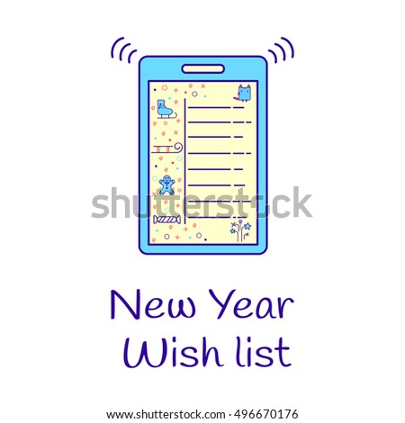 New Year wish list with a cat, skates, sled, candy, firework and gingerbread. Color image of tablet. Vector illustration gift design layout.