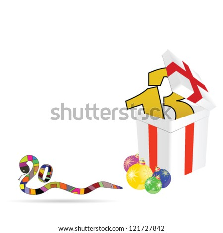 new 2013 year with decoration ball vector illustration - stock vector