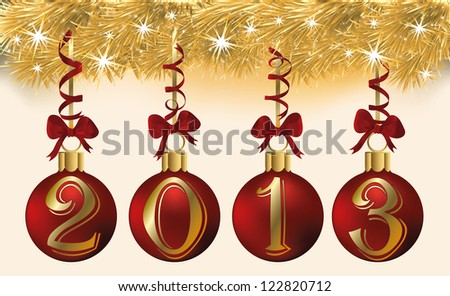 New 2013 year with red xmas balls, vector illustration - stock vector
