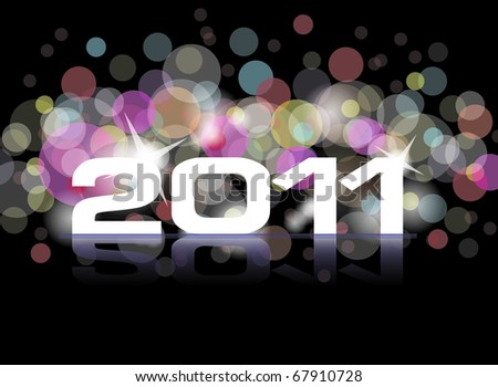 New Years card 2011 - stock vector