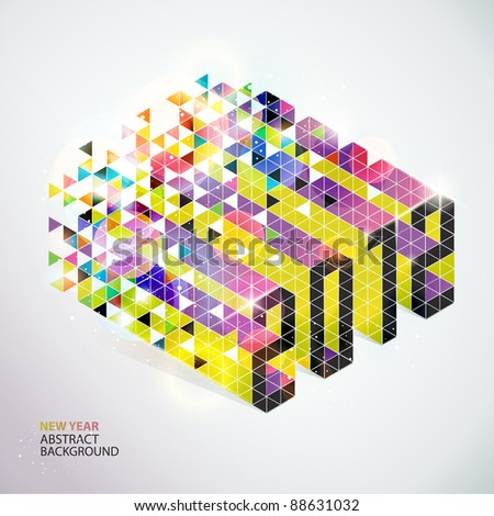 New years card. 2012. - stock vector