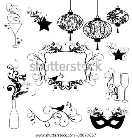 New Years Design Element Silhouettes - stock vector
