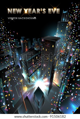 New Years Eve in downtown. Vector Illustration. - stock vector
