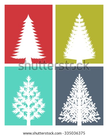 New years greeting card flat design stock vector 2018 335036375 new years greeting card flat design illustration of various types of christmas trees on colored m4hsunfo