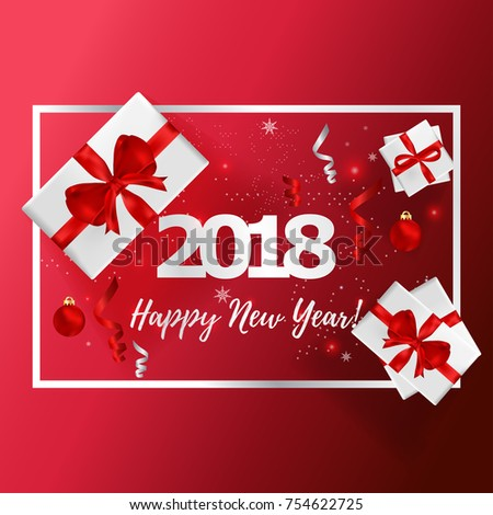 New years greeting card vector illustration stock vector royalty new years greeting card vector illustration happy new year 2018 on red background for greeting m4hsunfo