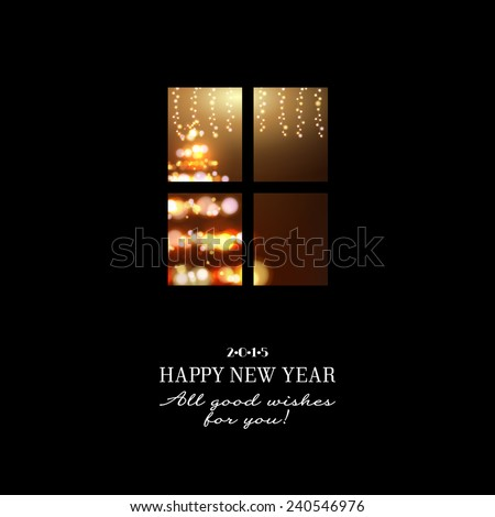 New years invitation, winter eve in the window template card . Vector illustration.
