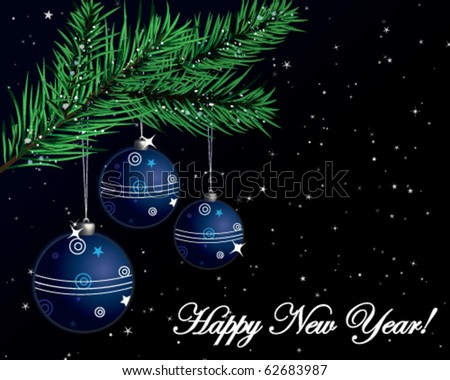 New Years postcard with branch of christmas tree and decoration - stock vector