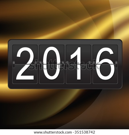 New Years Postcard With Counter With Gradient Mesh, Vector illustration - stock vector