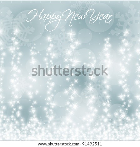 New Years Vector Background with Stylized Falling Stars - stock vector
