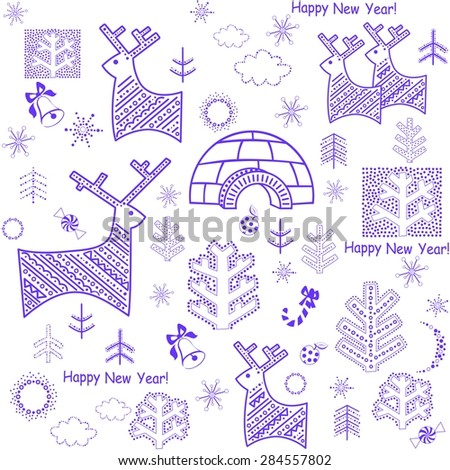 New years wallpaper with reindeer and igloo - stock vector