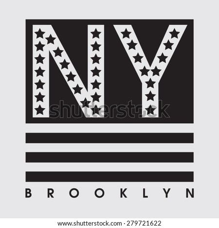 New York america flag black and white typography, t-shirt graphics, vectors - stock vector