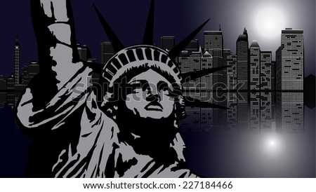 New York and Statue of Liberty in Night - vector