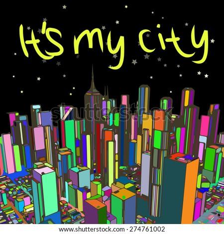 New York at night, illustration, card - stock vector