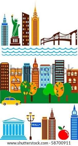 New York attractions and scenes - stock vector