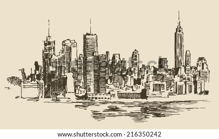 New York, big city architecture, vintage engraved illustration, hand drawn, sketch - stock vector