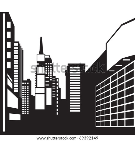 New York black and white image - Vector illustration - stock vector