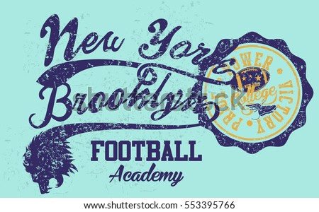New york Brooklyn college sports American Football graphic design vector art