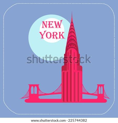 New York Chrysler Building icon flat - stock vector