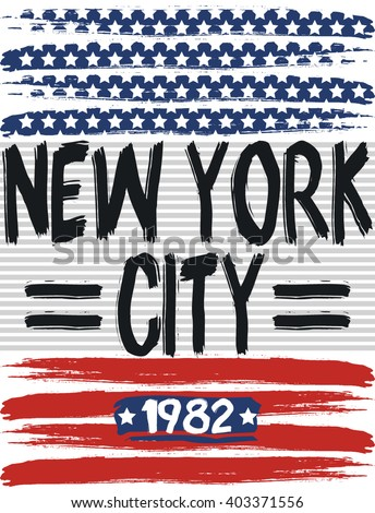 New York City america flag vector print and varsity. For t-shirt or other uses in vector.T shirt graphic - stock vector