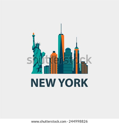 New York city architecture retro vector illustration, skyline city silhouette, skyscraper, flat design - stock vector