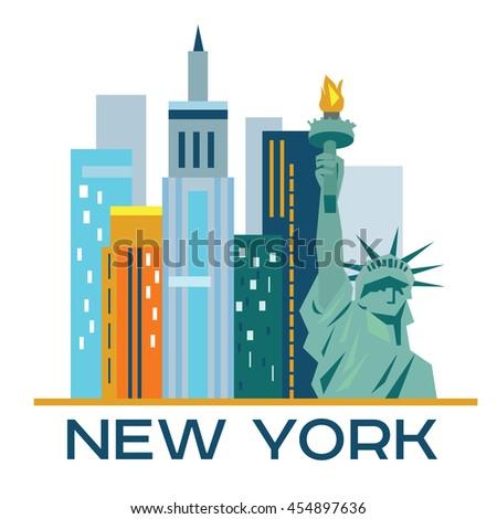 New York city architecture retro vector illustration, skyline city silhouette, skyscraper, flat design - stock vector