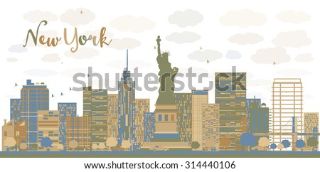 New York city architecture skyline with blue and brown buildings. Vector illustration. Business travel and tourism concept with place for text. Image for presentation, banner, placard and web site - stock vector
