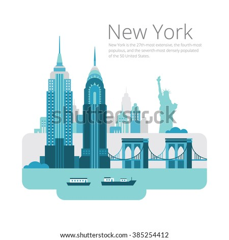 New York City architecture vector illustration. Landscape of buildings and the Brooklyn Bridge. - stock vector