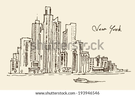 New York city architecture, vintage engraved illustration, hand drawn, sketch - stock vector