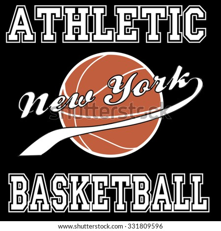 New york city basketball athletic typography, t-shirt graphics. Vector illustration