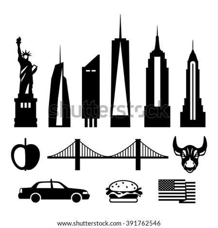 New York city, black and white vector icon kit. Skyscrapers, Statue of Liberty, Brooklyn Bridge, apple, bull, taxi, hamburger, American flag. - stock vector