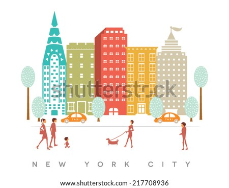 New York City Buildings and Streets Design on White Background - stock vector