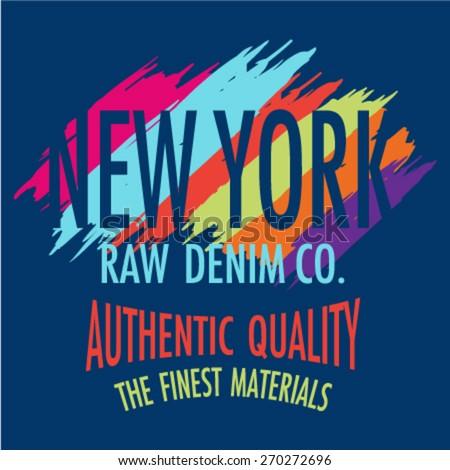 New York City Graphic for denim wear. Vector illustration. T-Shirt Graphics. - stock vector