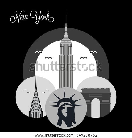 New York City Landmarks, icons USA - stock vector