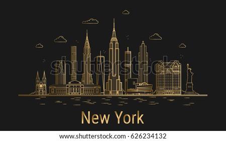 Line Art City : New york city line art golden stock vector  shutterstock