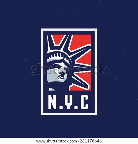 New York City NYC Solid and Bold, Attractive and Memorable Graphic Symbol For Badge, Logo, Label, T shirt, Print, Poster, Emblem, Banner. Liberty Statue Head Vector Art Illustration. - stock vector