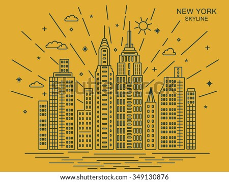 New York city, outline skyline. Vector illustration - stock vector