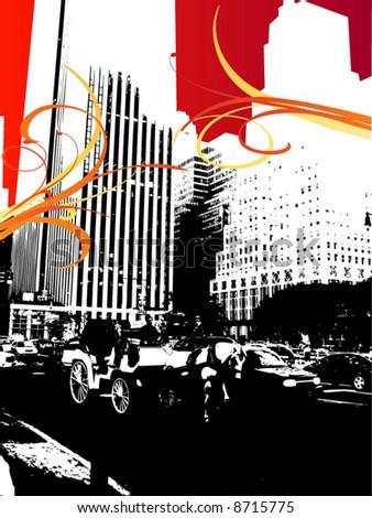 new york city red sky - stock vector