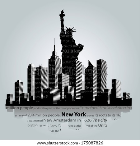 New York city silhouette. - stock vector