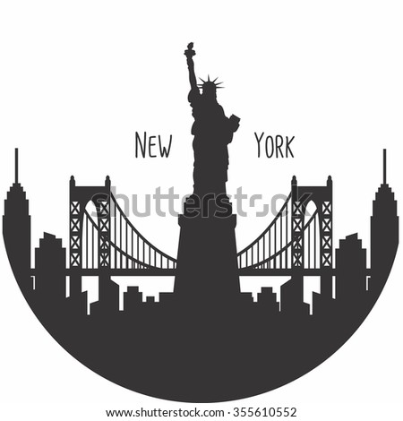 New York city silhouette with typographic. Vector illustration - stock vector - stock vector