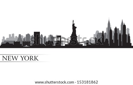 New York city skyline detailed silhouette. Vector illustration  - stock vector